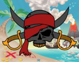 Dibujo Símbolo pirata pintado por caramosa