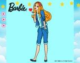 Dibujo Barbie con look casual pintado por LunaLunita