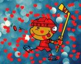 Niño aprendiendo a jugar a hockey