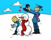Dibujo Padre e hijo en la nieve pintado por LunaLunita