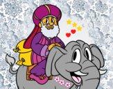 Dibujo Rey Baltasar en elefante pintado por LunaLunita