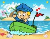 Dibujo Barco y capitán pintado por LunaLunita
