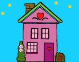 Dibujo Casa con corazones pintado por LunaLunita