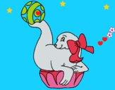 Dibujo Foca jugando a la pelota pintado por LunaLunita