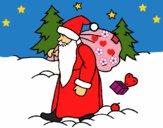 Dibujo Papa Noel repartiendo regalos pintado por LunaLunita