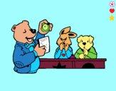 Dibujo Profesor oso y sus alumnos pintado por LunaLunita