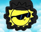 Dibujo Sol con gafas pintado por Jaramill