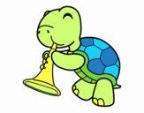 Dibujo Tortuga con trompeta pintado por fabriciojo