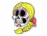 Dibujo Calavera mejicana con trenza pintado por RocioNayla
