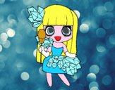 Chica con diamantes bonitos