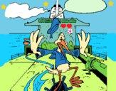 Dibujo Cigüeña en un barco pintado por LunaLunita