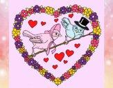 Corazón con pájaros