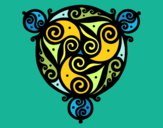 Dibujo Mandala con tres puntas pintado por Majestic