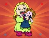 Dibujo Niña con su muñeca pintado por tilditus