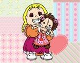 Dibujo Niña con su muñeca pintado por shigurashi