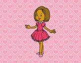Dibujo Niña con vestido de princesa pintado por adricaso