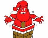 Papa Noel en la chimenea