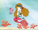 Dibujo Sirena y medusa pintado por caterin888