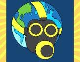 Dibujo Tierra con máscara de gas pintado por zeus555