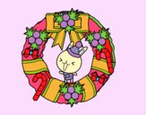 Dibujo Corona navideña y conejito pintado por asas