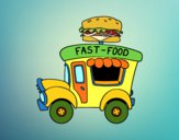 Dibujo Food truck de hamburguesas pintado por queyla
