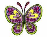 Dibujo Mandala mariposa pintado por asas