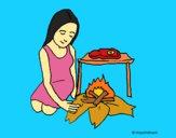 Dibujo Mujer cocinando pintado por LunaLunita