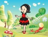 Niña con vestido de fiesta