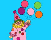 Dibujo Payaso con globos pintado por LunaLunita