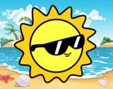 Dibujo Sol con gafas pintado por SinaiV