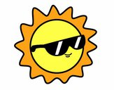 Dibujo Sol con gafas pintado por Valepxndx