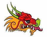 Dibujo Cabeza de dragón rojo pintado por lunadangel