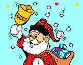 Dibujo Santa Claus y su campana pintado por LunaLunita