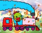 Dibujo Tren con maquinista pintado por sofiadelfi