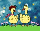 Dibujo Pareja de patos pintado por LunaLunita