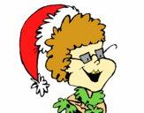 Abuela con gorro navideño