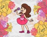 Dibujo Estrella del pop cantando pintado por jimenaleal