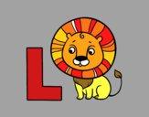 Dibujo L de León pintado por mirtali