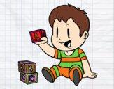Dibujo Niño con piezas pintado por painter