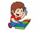 Dibujo Niño con xilófono pintado por jimenaleal