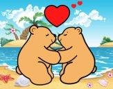 Dibujo Osos polares enamorados pintado por LunaLunita