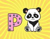 Dibujo P de Panda pintado por ana_0911