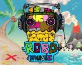 Dibujo Robot music pintado por wilton