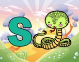 Dibujo S de Serpiente pintado por ana_0911