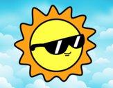Dibujo Sol con gafas pintado por Yeric12