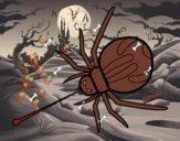 Araña expulsando veneno