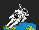 Dibujo Astronauta en el espacio pintado por kjdfshiudf