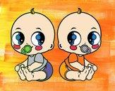 Dibujo Bebés gemelos pintado por Potte