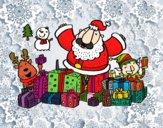 Dibujo Papá Noel con regalos y alegría pintado por Mandyta