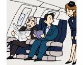 Dibujo Pasajeros en el avión pintado por kjdfshiudf